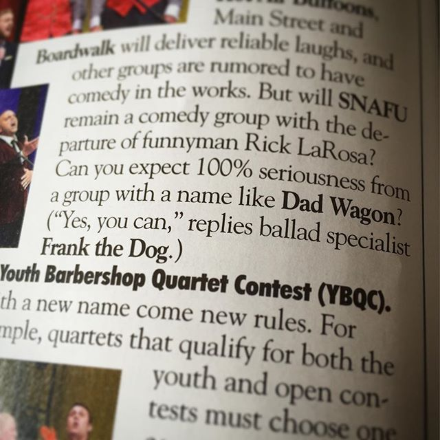 Hey, @barbershopharmonysociety - thanks for the shoutout in this week's Harmonizer! #bhsnash