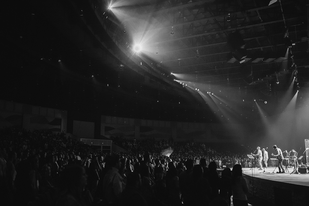 Worship Center crowd B&W.jpg