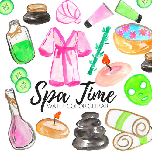 watercolor spa relaxation clip art set writelovely