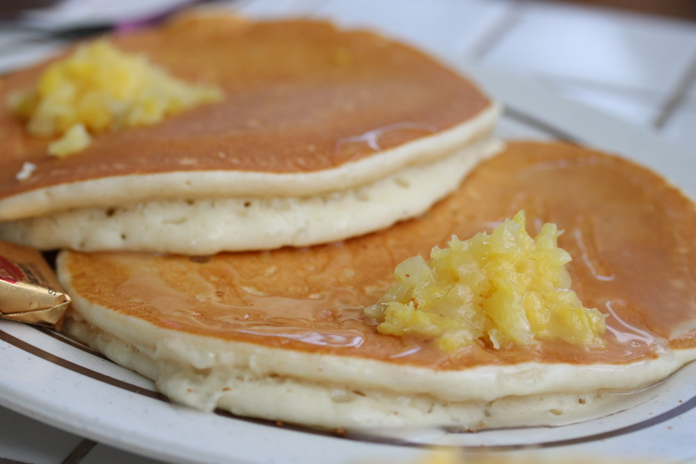 Pineapple Mango Pancakes with Coconut Syrup