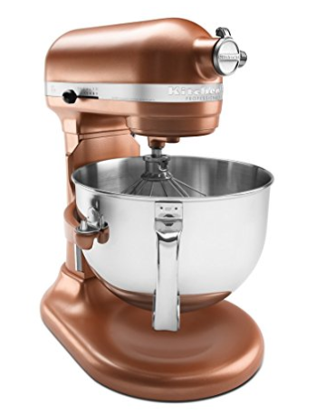 Kitchen Aid Mixer in Copper Pearl  I love using my mixer to make cookies & cakes all season long. And I love the look of the copper shade which matches all of the other hints of copper in our white & marble kitchen.