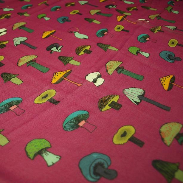 Pink mushrooms crepe silk scarf.