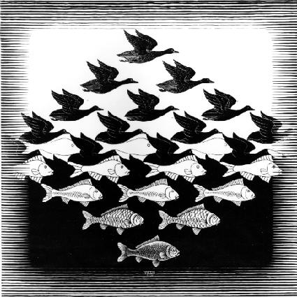 COPYRIGHT MC Escher 1938 Woodcut Sky and Water   Where do you get your inspiration for specific projects? Do you always return to some favourite designer/artist/era? do let me know in the comments ! I'd love to hear about it.