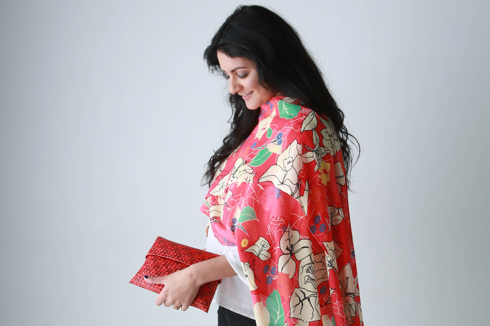 The stunning Diluki O'Beirne wearing my Bougainvillea Chill Red from the Full Circle collection.