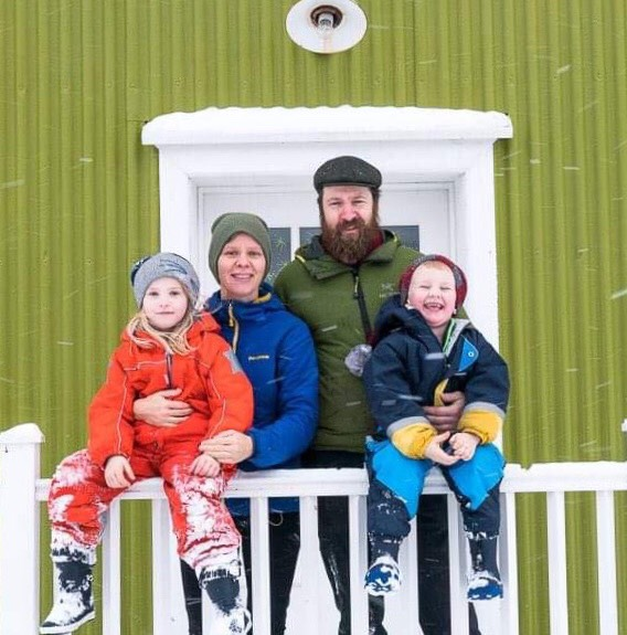 The family: Frosti, Wouter, Janne, and Fríða