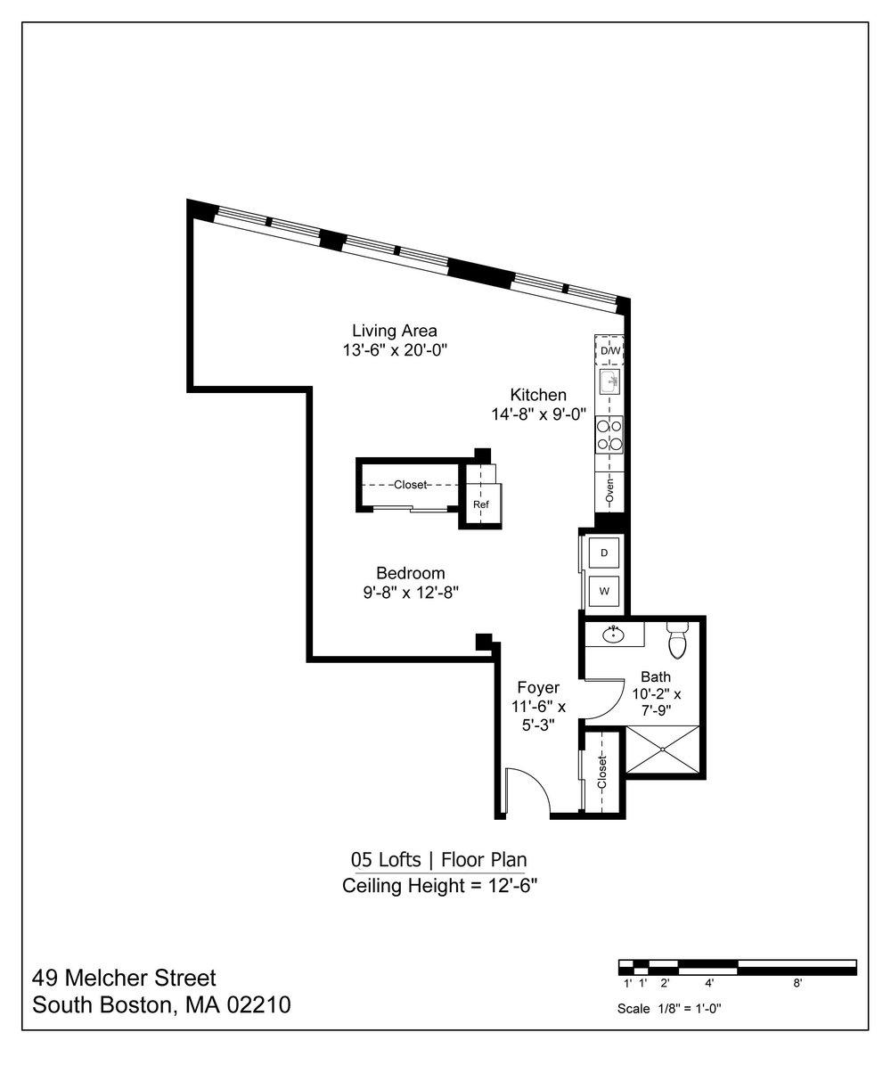 05 LOFT FLOOR PLAN - 885 SF | $3000-3200/MONTH