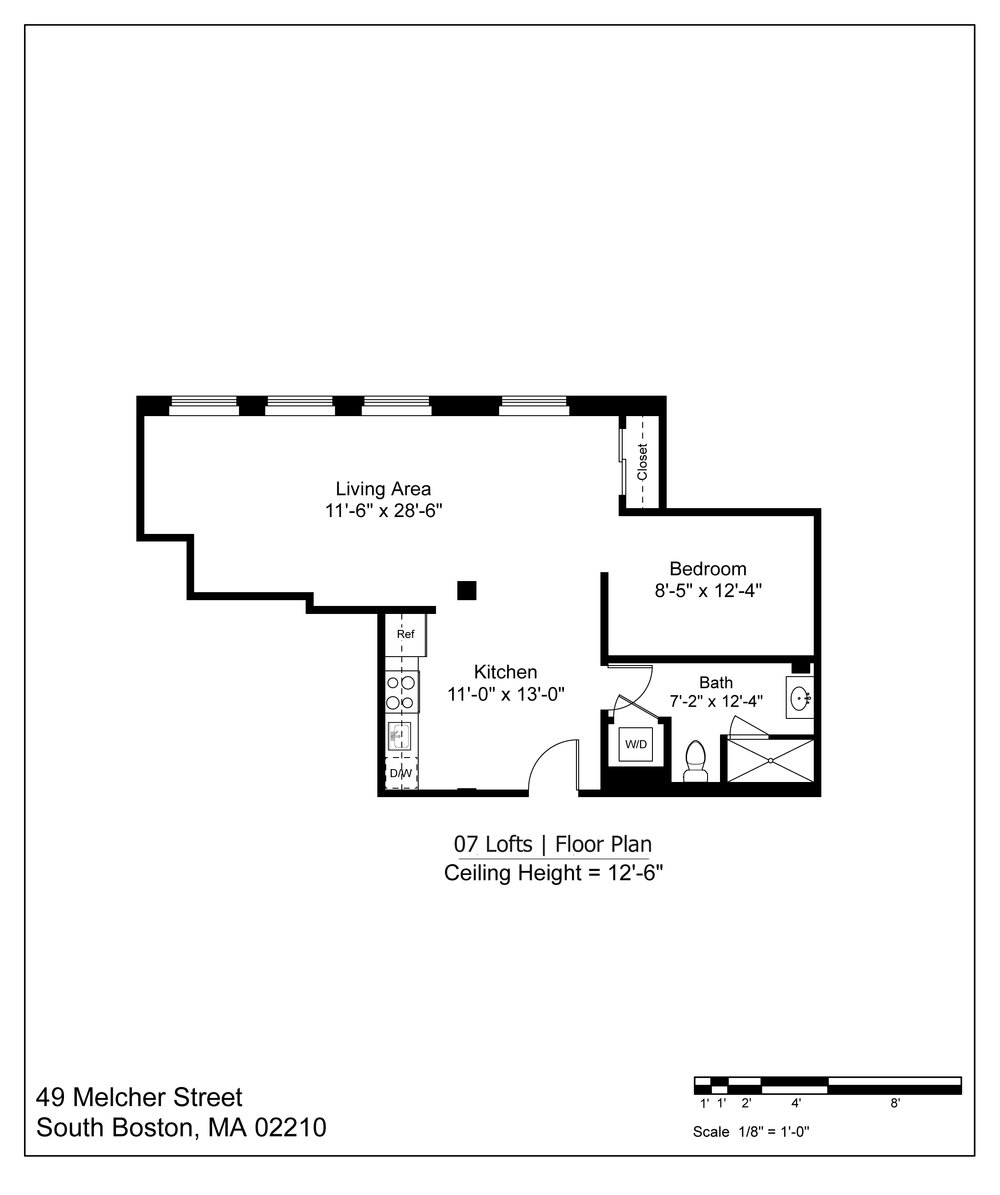 07 LOFT FLOOR PLAN - 870 SF | $3000-3200/MONTH