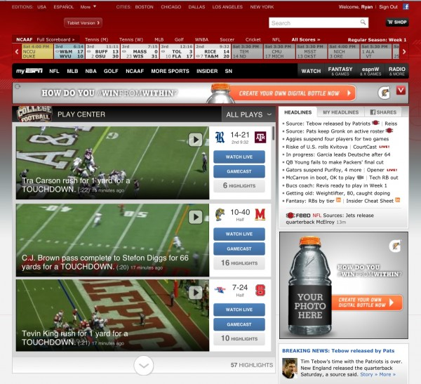 college football homepage