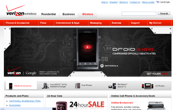 droid launch verizon site