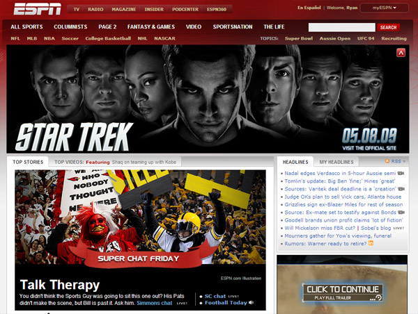 ESPN Star Trek The MOvie