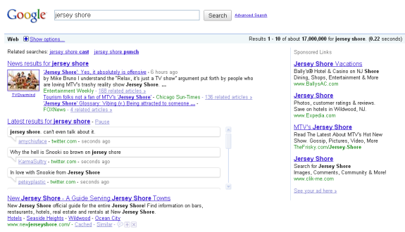 google search results crowded
