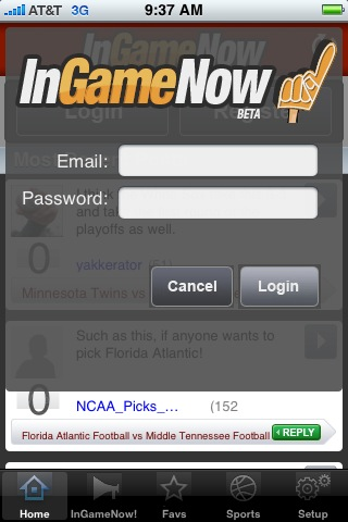 InGameNow iPhone Sports App