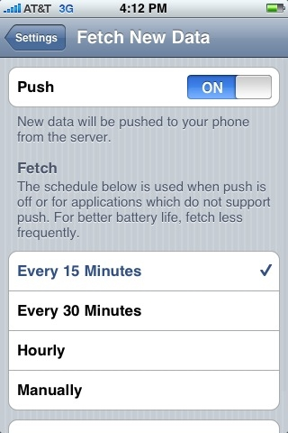 iPhone 3G Fetch Push