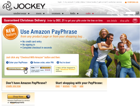 jockey amazon payphrase