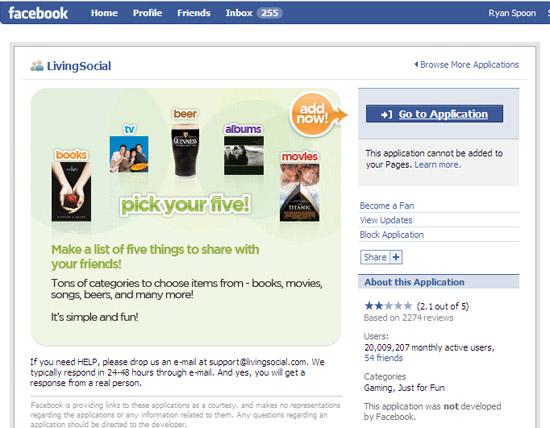 livingsocial facebook app