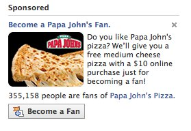 papa johns facebook fan page