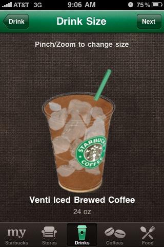 Starbucks iPhone App Custom Drink