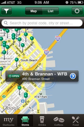 Starbucks iPhone App Map