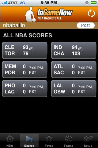 iPhone Scoreboard NBA
