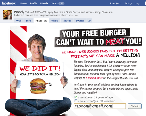 tgi fridays facebook woody