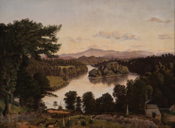 Belle Isle from Lyon's View, a view along the Tennessee River at Knoxville, by James Cameron, 1861. Oil on Canvas. On exhibit in the Tennessee State Museum as part of its Permanent Exhibitions.