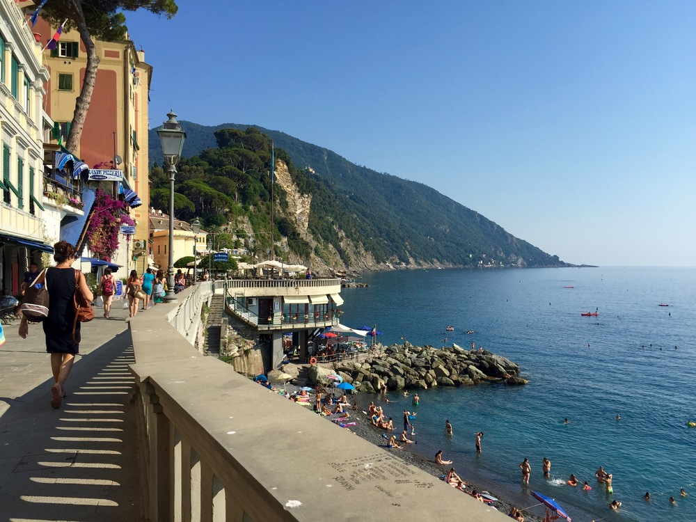 This is the town of Camogli. You cannot see San Fruttuoso in this picture because it is hidden behind the mountain, talk about  exclusive .