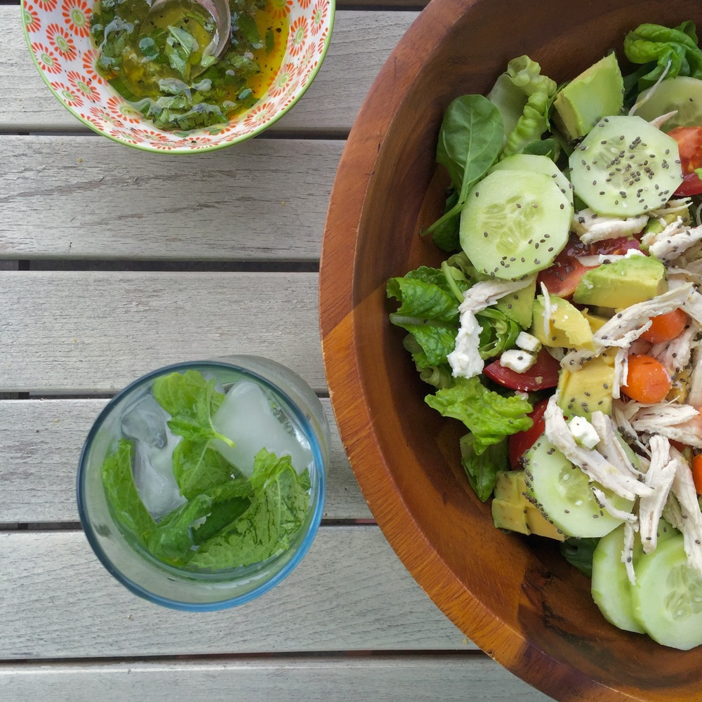 Pulled Chicken Summer Salad, Lime/basil dressing, and Mint-infused Water.