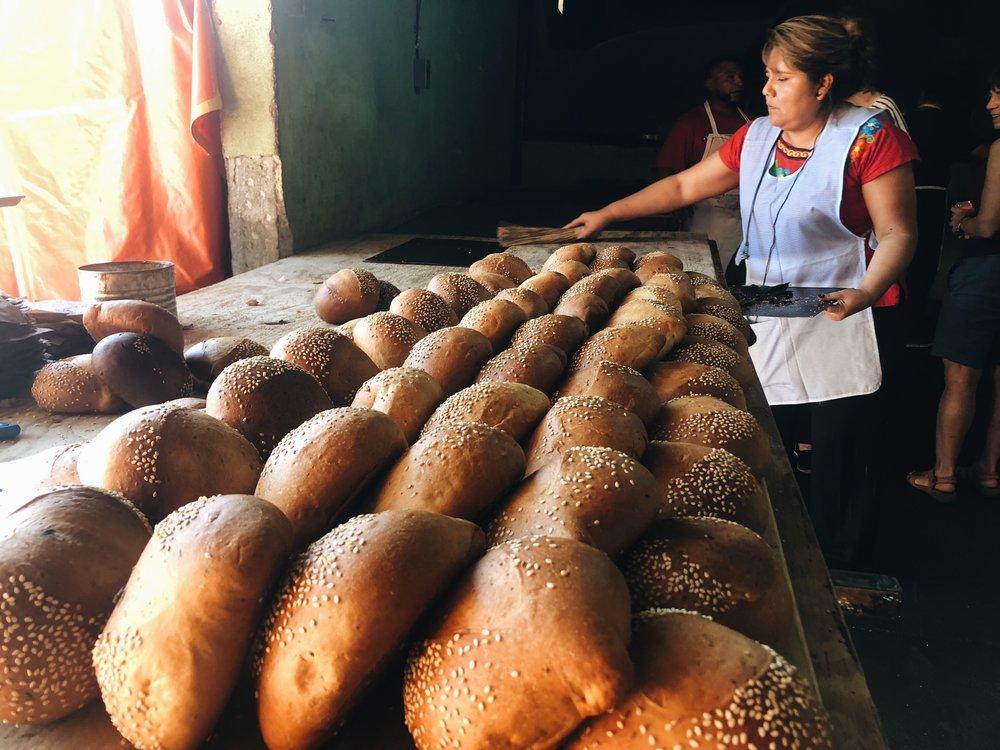 Fresh pan de muerto rests after baking.