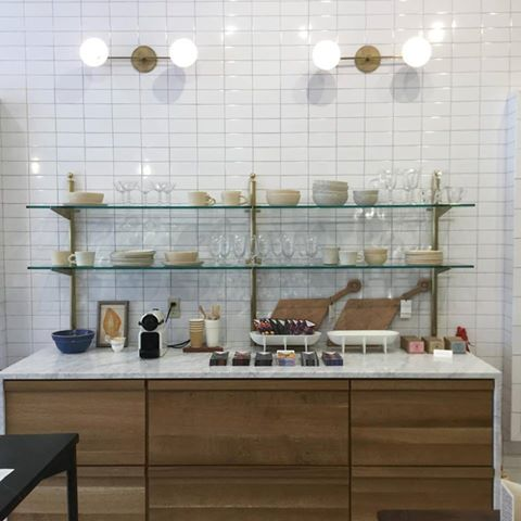 Brass and glass shelving