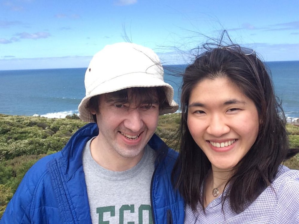 Clancy and his wife Angel on Great Ocean Road in Melbourne