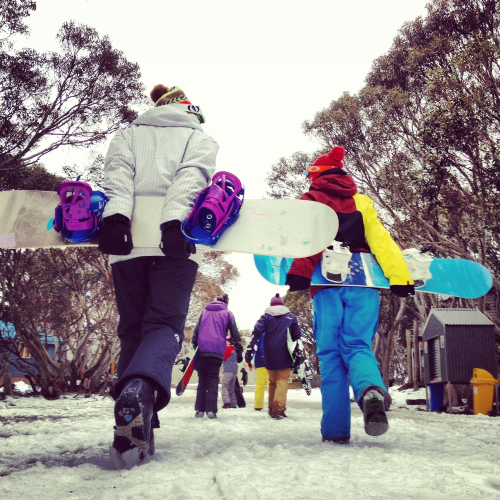 Snowboarders at Mount Hotham, Victoria