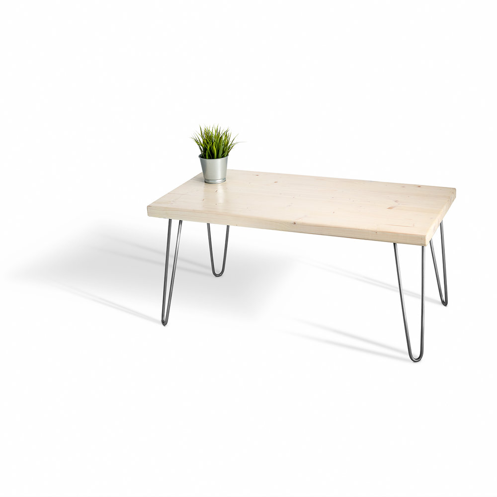 Pine Table With Hairpin Legs