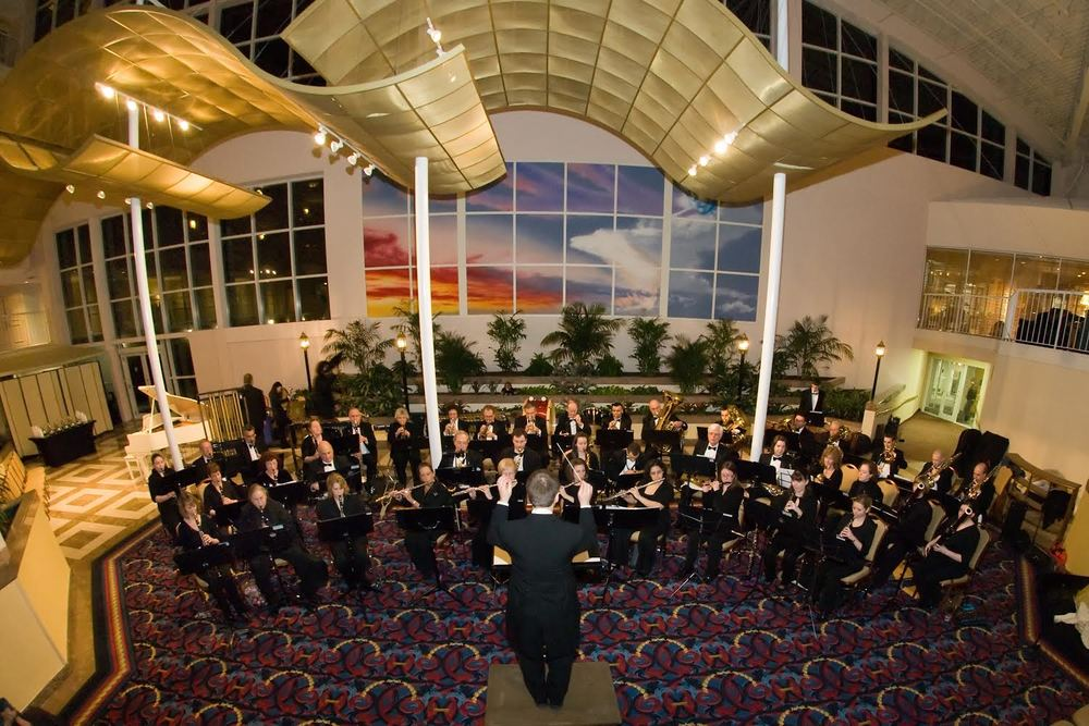 The Rhode Island Wind Ensemble performing at the Newport Marriott Hotel in Newport, RI