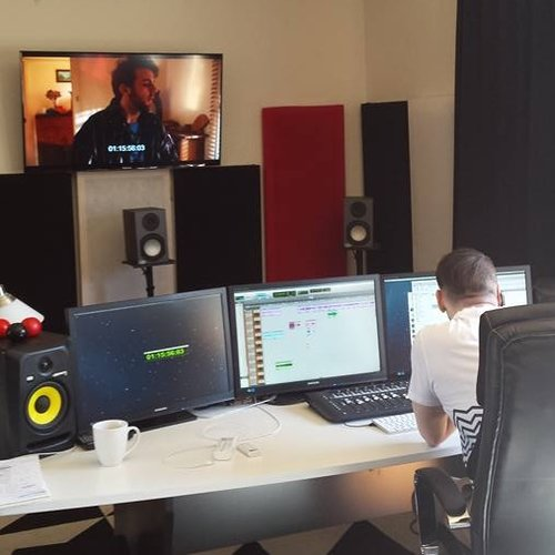 Brad working on the mix.