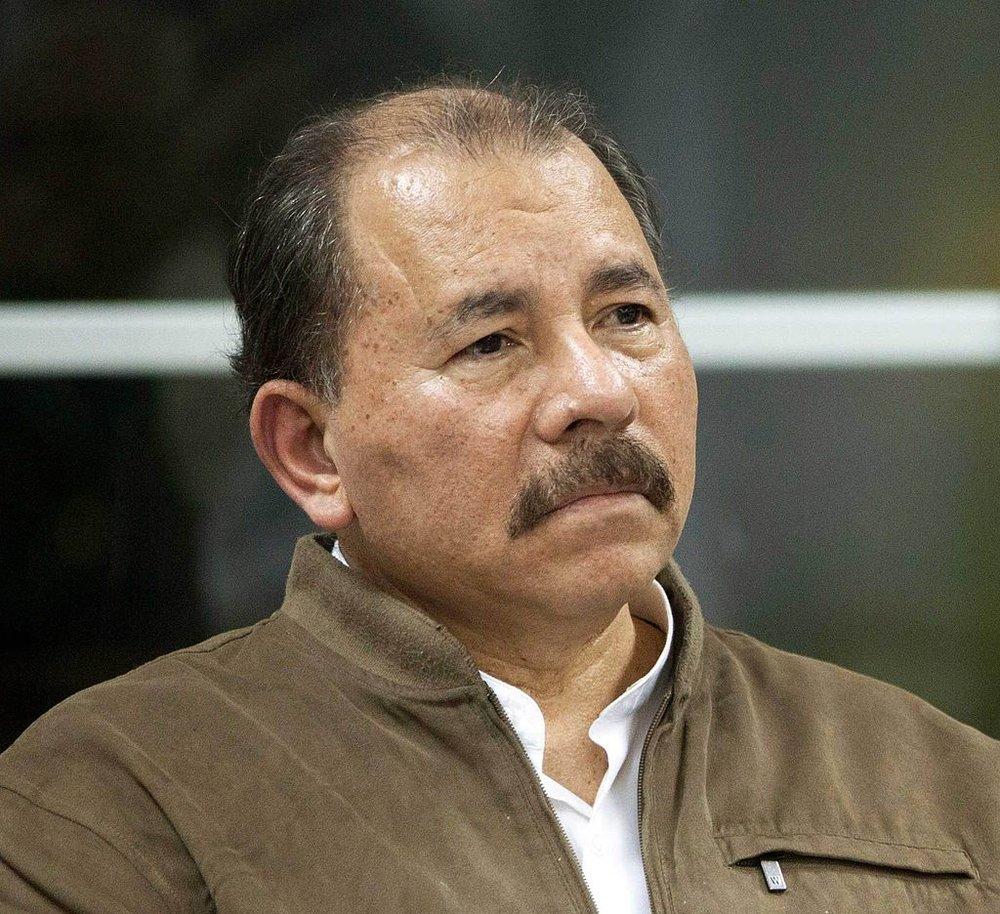 Daniel Ortega in Managua in 2013.    Photo by Fernanda LeMarie, Cancillería de Ecuador, via Wikimedia Commons