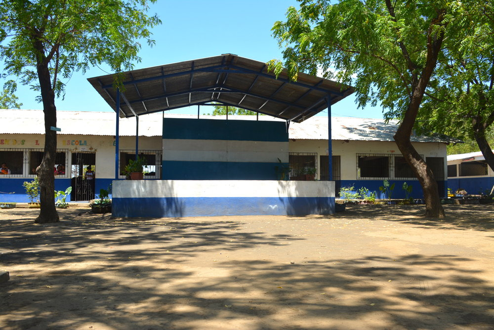In school - The school yard of the high school in La Ceiba sits empty, awaiting the dismissal of Saturday classes.