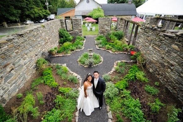 couple in the herb garden