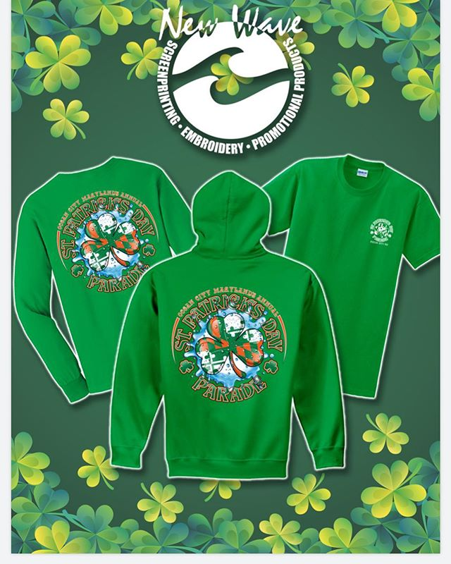 Your OFFICIAL Ocean City Parade Apparel producers right here 🙋‍♀️ Only place for purchase will be at 45th St. parking lot on Saturday. Proceeds are donated to the Delmarva Irish American Club to go out for local scholarships! Support your local community! #newwaverunsthisshore #screenprinting #embroidery #familyownedandoperated #stpatricksday