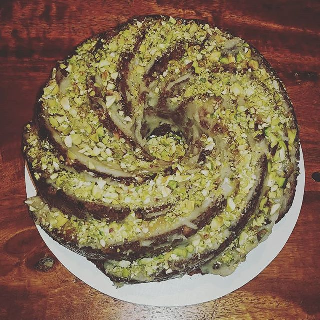 "Put in your Thanksgiving orders today! Full size cakes and pies, tartlets, cookies, pumpkin spice cake bites, pie crust (vegan or regular) and more orders@dreamofgoodies.com (7"" Cardamom Pistachio Spice cake pictured)"