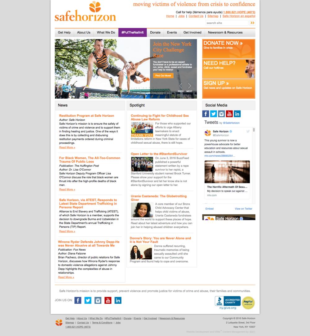The previous Safe Horizon website