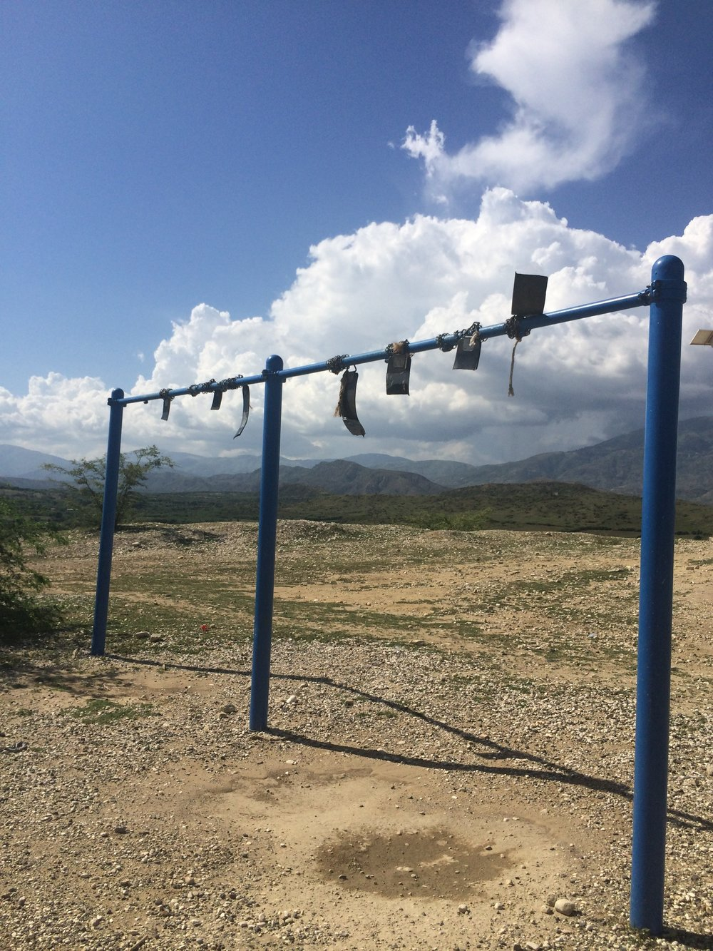 The rubber from this swing set was stolen because people were so desperate. This foreshadowed a much more severe incident months after I left where people stole the nuts and bolts from a bridge, leading to its collapse and the death of three community members.