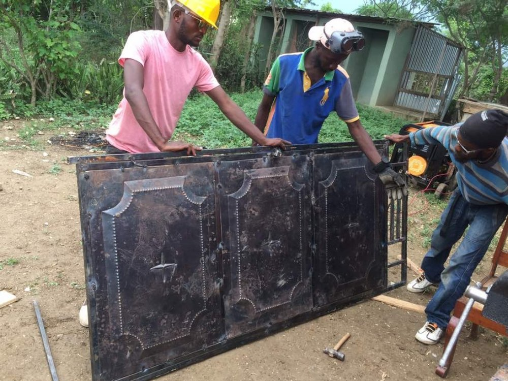 A newly fabricated metal door.