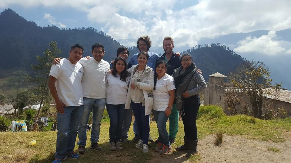 4th year Guatemalan and foreign medical students at a mobile clinic in Las Majadas