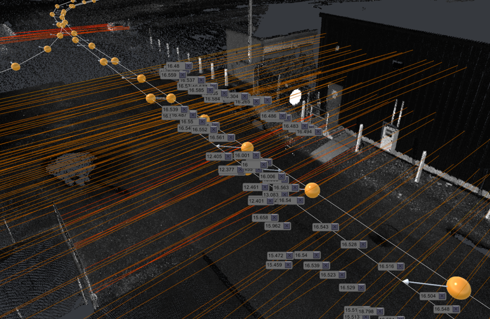 STOUT is fully capable of extracting a wide variety of assets. Pictured above are the vertical and horizontal clearances that have been extracted for a section of roadway. Virtually any asset that can be seen within the point cloud can be identified by our software.
