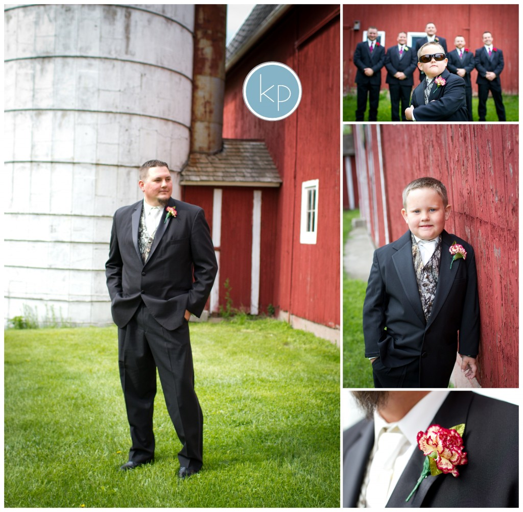 groom on a farm, ringbearer with groomsmen, flower for groom