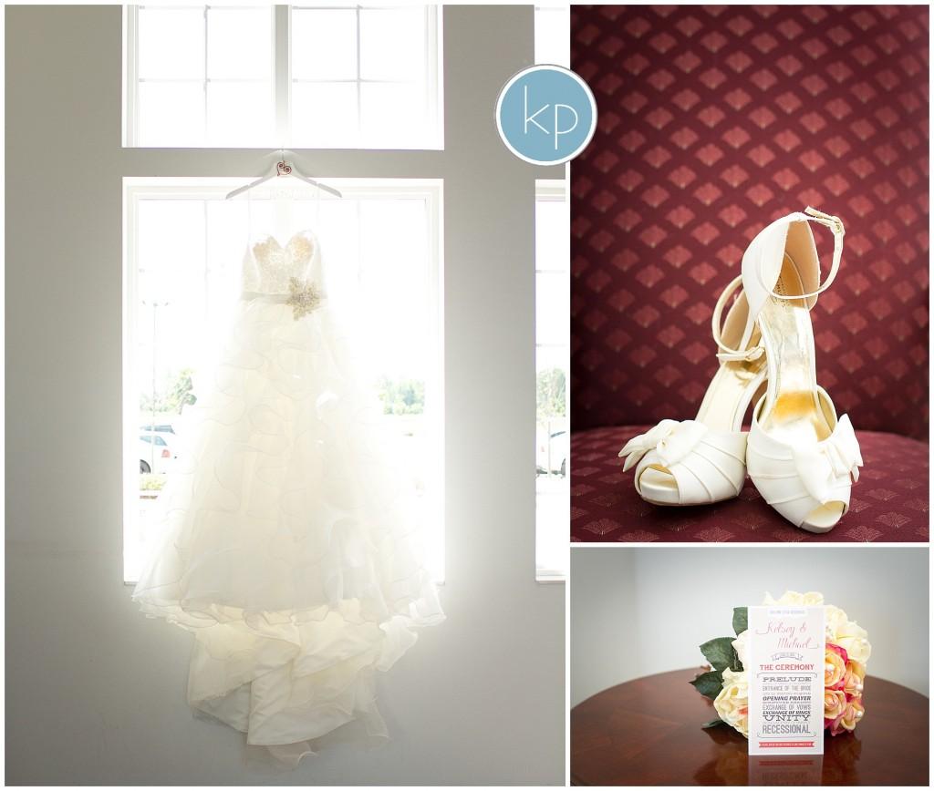 wedding dress in window, wedding shoes, wedding program, bouquet, wedding details