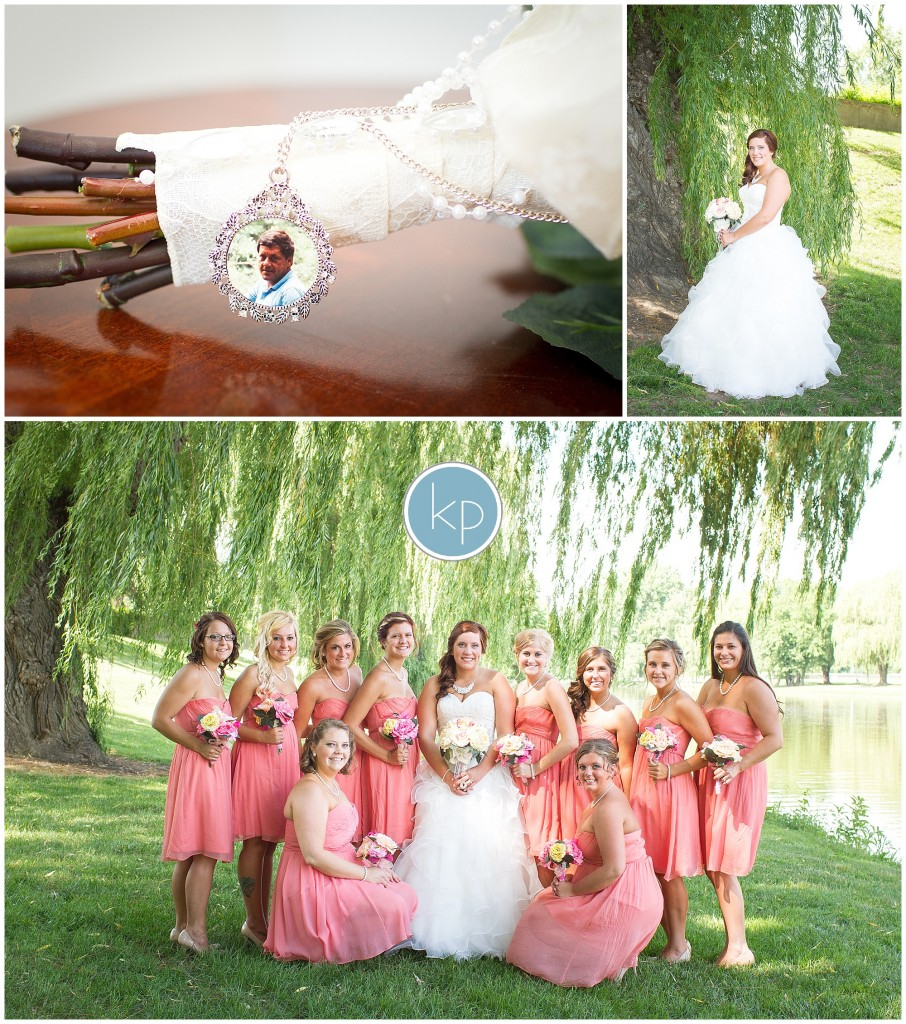 pin for father on bouquet, bride pose, bride with bridesmaid