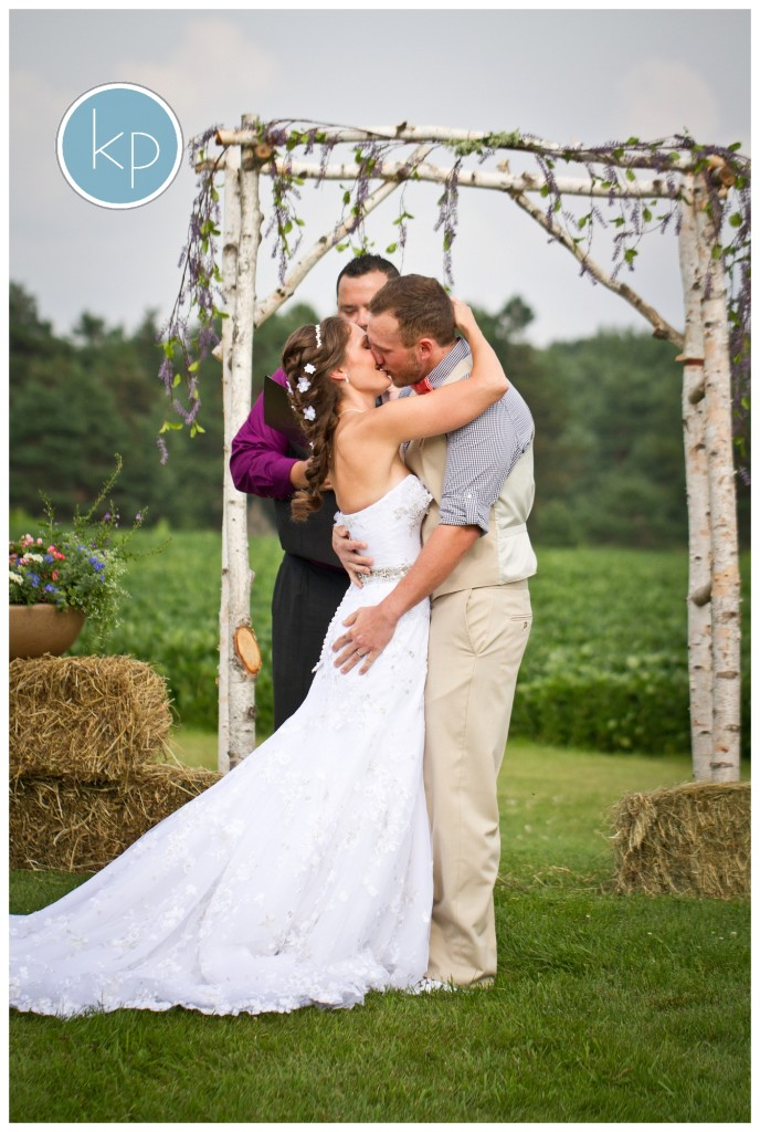 First kiss during a wedding ceremony at the lazy j ranch