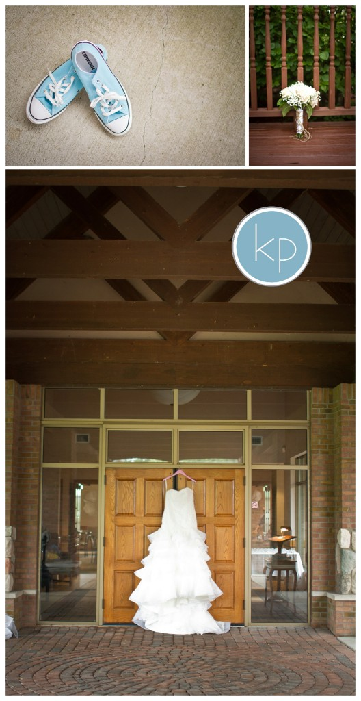 wedding dress hanging on beautiful door