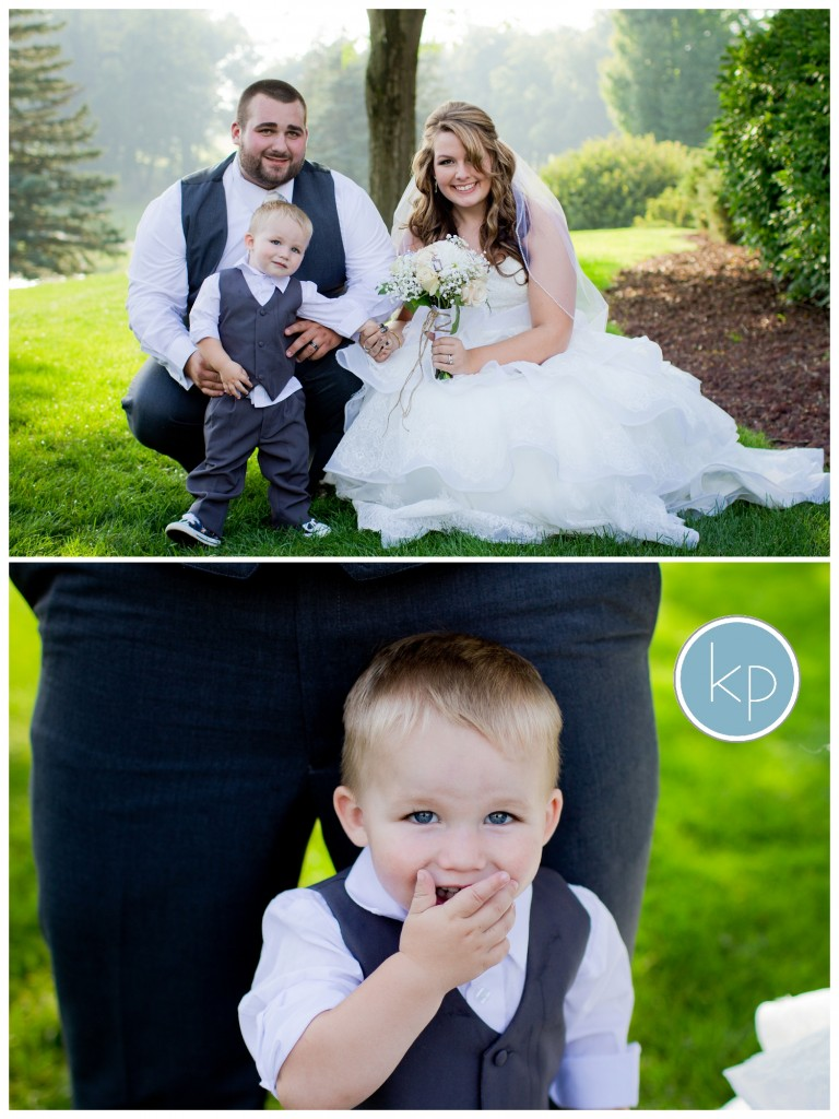 bride and groom with son, family